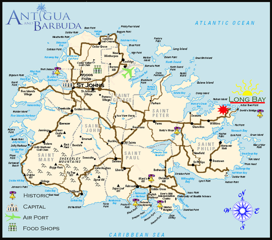 Antigua, Long Bay Beach, a hotel, Inn and Resort on a map of estonia, a map of st.thomas, a map of moldova, a map of san juan puerto rico, a map of tuvalu, a map of nevis, a map of galapagos, a map of the leeward islands, a map of vanuatu, a map of st. lucia, a map of andorra, a map of santo domingo, a map of french polynesia, a map of windward islands, a map of anguilla, a map of los cabos, a map of st vincent, a map of seychelles, a map of kazakhstan, a map of jersey,
